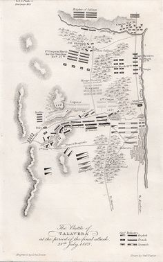"""The Battle of Talavera at the period of the final attack, 28th July, 1809. An antique plan drawn by General Napier and engraved by John Dower. Published in """"History of the War in the Peninsula and in the South of France from the year 1807 to the year 1814"""" by Major General Sir W.F.P. Napier. K.C.B. Published in the year 1856."""