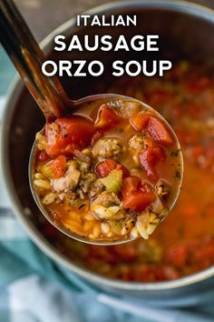 Italian Sausage Tomato Orzo Soup – Page 2 – Sausage Recipes, Cooking Recipes, Chili Recipes, Paella, Italian Sausage Soup, Orzo Soup, Soup And Sandwich, Sandwich Recipes, Soup And Salad