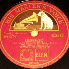 COMEDY HARMONISTS  Liebesleid & Humoreske  1933 HMV 78rpm 10