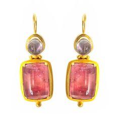 Large Square Pink Tourmaline and Tear Moonstone Earrings in Yellow Gold Tourmaline Earrings, Moonstone Earrings, Pink Tourmaline, Yellow Earrings, Gold Drop Earrings, Teardrop Earrings, Gold Jewelry, Jewelry Box, Jewellery