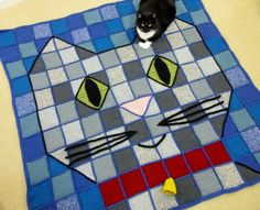 Crochet Pattrn for Kitty Cat Throw Blanket