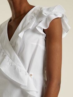 Ruffle-trimmed cotton wrap top | Peter Pilotto | MATCHESFASHION.COM US