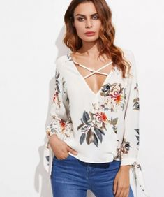 Shop Surplice Neckline Crisscross Tie Cuff Blouse at ROMWE, discover more fashion styles online. Floral Tunic, Floral Chiffon, Chiffon Tops, Chiffon Blouses, Floral Lace, Romwe, White V Necks, Blouse Styles, Simple Outfits