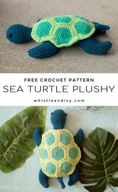 Crochet sea turtle - free crochet pattern this darling little sea turtle has the cutest shell made from hexagons! He's the perfect summer and spring project to make for the kiddos. Crochet Eyes, Crochet Circles, Cute Crochet, Crochet Crafts, Crochet Projects, Knit Crochet, Crochet Summer, Yarn Crafts, Crochet Skirts