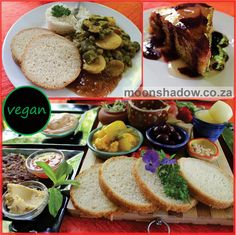 Some #vegan goodies at Moonshadow's Coffee Shop: •Peanut-butter & Eggplant Curry •Eclectic Ploughman's Platter •Freshly baked Mixed Berry Cake (with berry-vanilla glaze). #Swellendam #Overberg