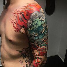 Foo/Fu Dog tattoos: Artists credited within.
