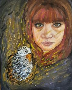 Amber Welch - SO MUCH MORE (self portrait) oil paint in 12x16 stretched canvas. Sometimes a lonely bird or a lonely person can realize it's…
