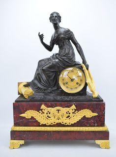 Große feuervergoldete Empire Pendule Kaminuhr Griotte Marmor um 1820