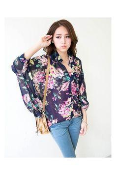 Blue Floral Loose Fit Chiffon Shirt, iAnyWear