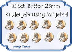 10 Set Button Wolf ,Kindergeburtstag Mitgebsel von Jasuki auf DaWanda.com