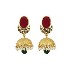 SthriElite Gold Plated  White-Red-Green Colored Jumka