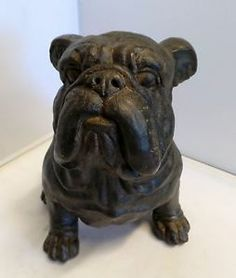 British Garden Bulldog Resin Figurine Home Outdoor Decor 8''