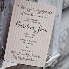 Smock Paper letterpressed baby announcement  Bescal calligraphy font