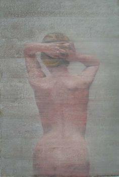 Jeune femme debout de dos, pastel on paper, Yves Crenn. At Axelle Fine Arts Galerie, 472 West Broadway, NY.