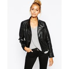 Barney's Originals Leather Biker Jacket with Quilting and Buckle... ($153) ❤ liked on Polyvore featuring outerwear, jackets, black, real leather jacket, asymmetrical leather jacket, quilted moto jacket, asymmetrical moto jacket and motorcycle jacket