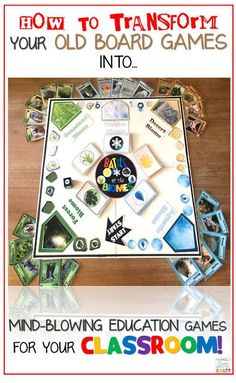 DIY Classroom Board Game from old board games Classroom Board, Middle School Classroom, Classroom Activities, Classroom Organization, Classroom Management, Articulation Activities, Therapy Activities, Old Board Games, Math Board Games