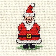 Santa cross stitch for Christmas cards.