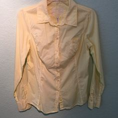 GUESS JEANS shirt. Worn once. Super comfy. Yellow GUESS lightweight semi-sheer long sleeve shirt. Worn once. Selling because to big. Size large. 100% cotton.   Super soft.  The hanger does it no justice. Guess Tops Button Down Shirts