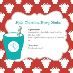 Here's a Reliv shake recipe for the kiddos! Chocolate Reliv Now for Kids and raspberries make for a delicious combo!