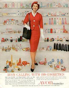 Avon-lady noin 50 vuotta sitten. Nykyään tuotevalikoima on moninkertainen ja vaatekerrastot ehkä hiemman modernimmat? ;) #tbt #throwbackthursday | Avon Lady vintage ad