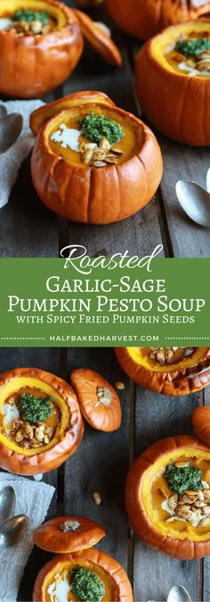 Roasted Garlic-Sage Pumpkin Pesto Soup with Spicy Fried Pumpkin Seeds ...