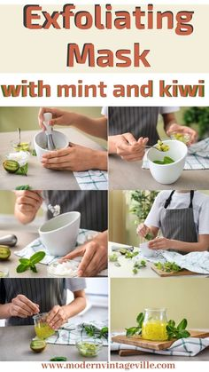 Kiwi has natural acid that will exfoliate your skin without rubbing and scrubbing. It won't damage your skin barrier. 3-4 leaves of fresh mint 3 teaspoons of fresh kiwi 1 teaspoon of shea butter or coconut oil puree with a hand presser remove mint leaves Hope over for more recipes