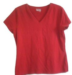 Basic Editions V-neck 100% Cotton Casual Wear T Shirt $4 shipped