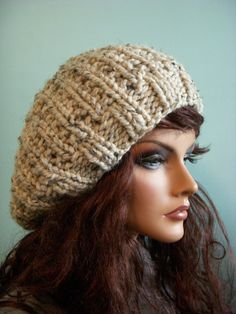 Slouchy Knitted Hat Oatmeal Tweed