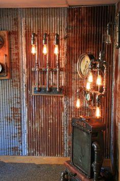 the best rustic bathroom ideas for your bathroom 28 > Fieltro. Rustic Wood Walls, Barn Wood, Loft Wall, Tin Walls, Garage Interior, Wall Boxes, Steampunk Lamp, Corrugated Metal, Rustic Bathrooms