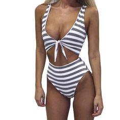 Sexy Women One-Piece Swimsuit Stripe Halter Bandage high-waisted Bikini Push Up Slim Halter Bathing Beachwear Monokini Swim Suit Bikini Fitness, Bikini Workout, Monokini, Bikini Babes, Sexy Bikini, Women Bikini, Cheeky Bikini, One Piece Swimwear, Bikini Swimwear