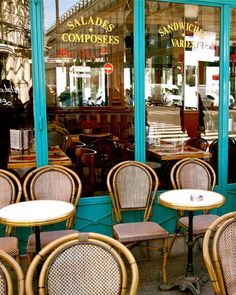 Paris Cafe Print - French Bistro Photograph - Kitchen Decor - Turquoise and Brown Decor Bistro Tables and Chair Parisian Photo Wall Art
