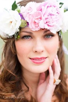 Wreath Hair Ideas, Wedding Hair & Beauty Photos by Lace and Lilies - Image 9 of 12 - WeddingWire