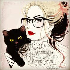 Cats just want to have fun - Tattoo Sketches by Tati Ferrigno  <3 <3