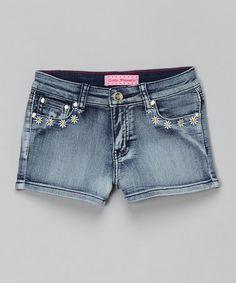 Look at this #zulilyfind! Medium Blue Daisy Denim Shorts - Girls #zulilyfinds