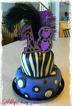 Amber ★ Girl's Cake ★ 18th Birthday ★ Purple, Black & White ★ Polka Dots ★ Zebra Stripes ★ Feathers★ Pearls ★ Handmade Leopard Print Numerical Cake Picks