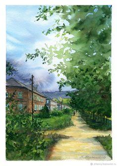"""Купить Акварель """"Прогулка с видом на горы"""" - акварельная бумага, живопись акварелью, картина акварелью"""