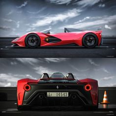 Ferrari Aliante Barchetta Concept by Daniel Soriano: side and rear Porsche, Audi, Lamborghini, Ferrari Car, Car Side View, Toyota, Car Racer, Futuristic Cars, Motorcycle Design