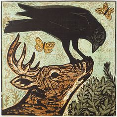 Kent Ambler is a printmaker living in Greenville, South Carolina. His primary print medium is woodcuts / woodblock prints. He has been a full time artist for 21 years. This is a page dedicated to his most recent woodcut prints. Crow Art, Raven Art, Bird Art, Crows Ravens, Arte Pop, Wood Engraving, Woodblock Print, Printmaking, Folk Art