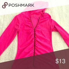 Sportswear Vogo Sweater! Sportswear Yogo Sweater! Neon Pink! No size on Sweater but it fits like an XS(: Very Form Fitting, Sleeves go half way!(: Sweaters