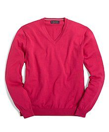 Soft Supima® cotton Brooks Brothers. Classic v-neck style with ribbed trim at neck, cuffs and hem. Nice selection of  bright colors for spring. Got two, this pink and orange....