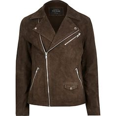 Dark brown premium suede biker jacket £150.00 | #RiverIsland | #RIDenim