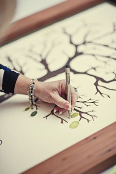 "cute idea for a family ""tree"" - leave a thumbprint and sign your name!"