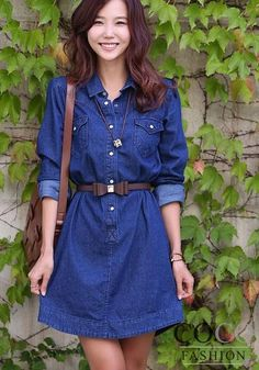 Blue Denim Casual Dress with Bottoms and Collar + Two Belts