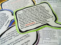 Book Blurbs! Student-led book recommendations. :) Would be so cute on the bulletin board next to pictures of the students.