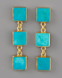 Triple-Drop Turquoise Earrings 18KT by Dina Mackney at Neiman Marcus.