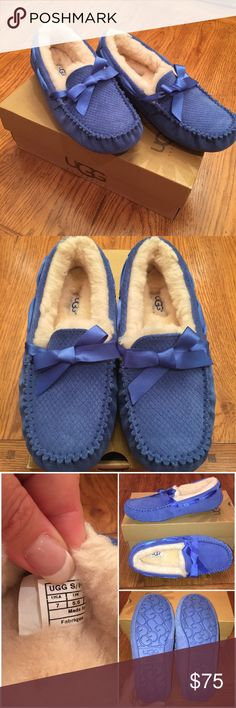 UGG Ansley ~ Royal Blue w/bow ~ size 7 Brand New!  Never worn  I bought them for my daughter for Christmas, and they did not fit.  BOX NOT INCLUDED  UGG Shoes Moccasins