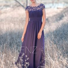 2017 Dark Purple Bridesmaid dress Lace, Illusion Wedding dress, Long Chiffon Womens Party dress, Maxi dress, Prom dress Floor length (T136) von RenzRags