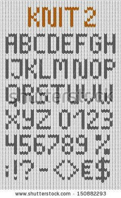 Knitted uppercase english alphabet with numbers and symbols. Isolated on white knitting texture Knitting Squares, Knitting Paterns, Knitting Charts, Knitting Stitches, Knitting Projects, Crochet Patterns, Fair Isle Chart, Geometric Font, Alphabet Charts