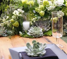 Succulent oasis for Bec + Lauren's wedding! xo Check out more wedding galleries here! Wedding Flowers, Wedding Day, Wedding Gallery, California Wedding, Oasis, Galleries, Glass Vase, Succulents, Table Decorations