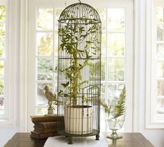 This Tall Wire Birdcage Is A Whimsical And Decorative Piece For Any Room.  Made Of Metal With A Distressed And Rubbed Hunter Green Painted Finish.